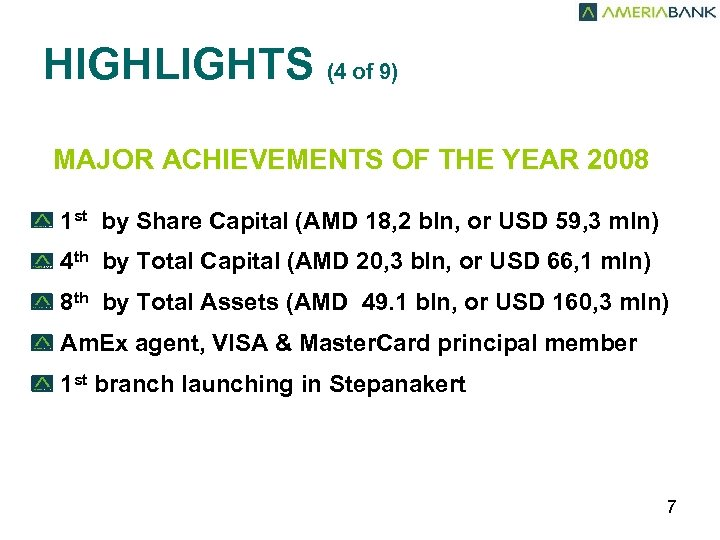 HIGHLIGHTS (4 of 9) MAJOR ACHIEVEMENTS OF THE YEAR 2008 1 st by Share