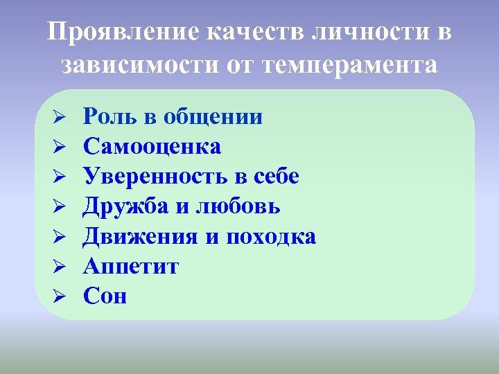 Проявление качеств личности в зависимости от темперамента Ø Ø Ø Ø Роль в общении
