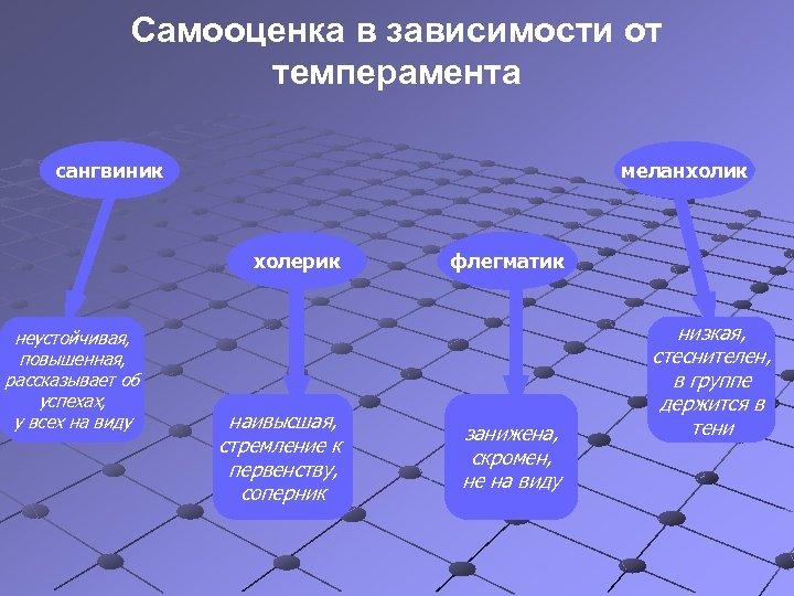 Самооценка в зависимости от темперамента сангвиник меланхолик холерик неустойчивая, повышенная, рассказывает об успехах, у