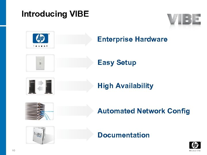 Introducing VIBE Enterprise Hardware Easy Setup High Availability Automated Network Config Documentation 10