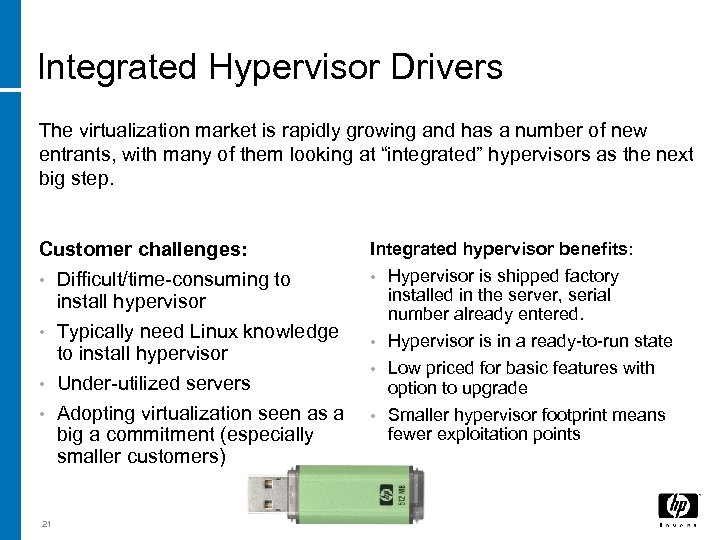 Integrated Hypervisor Drivers The virtualization market is rapidly growing and has a number of