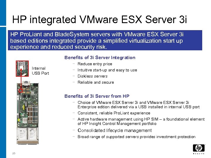 HP integrated VMware ESX Server 3 i HP Pro. Liant and Blade. System servers