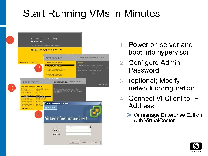 Start Running VMs in Minutes 3 i 26 Power on server and boot into