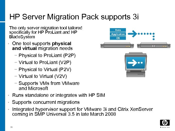 HP Server Migration Pack supports 3 i The only server migration tool tailored specifically