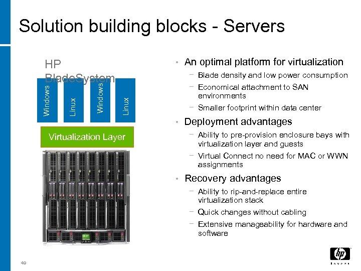 Solution building blocks - Servers • An optimal platform for virtualization − Blade density