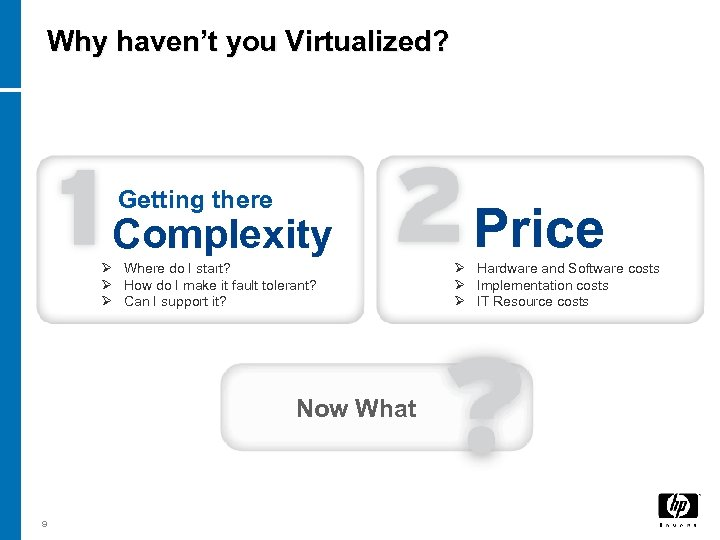 Why haven't you Virtualized? Getting there Complexity Ø Where do I start? Ø How