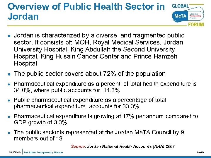 Overview of Public Health Sector in Jordan l l l Jordan is characterized by