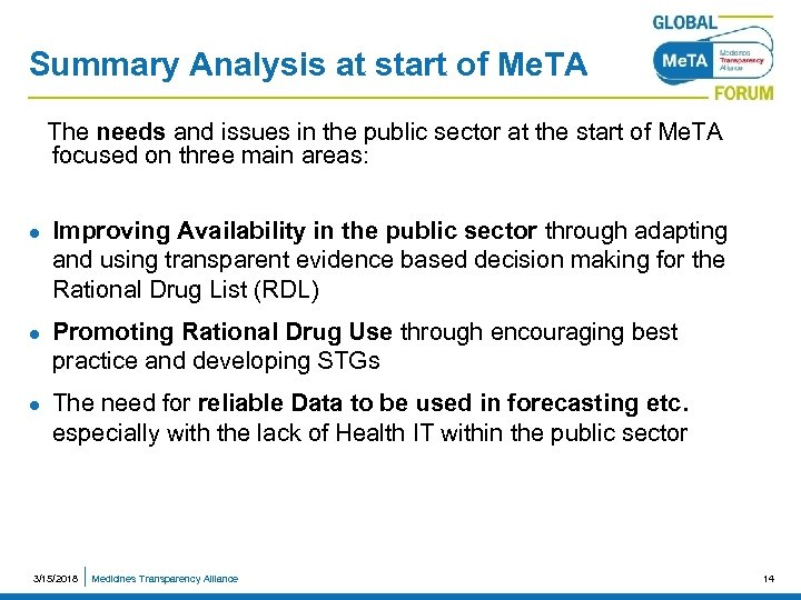 Summary Analysis at start of Me. TA The needs and issues in the public