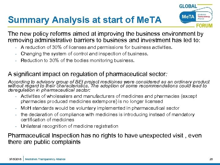 Summary Analysis at start of Me. TA The new policy reforms aimed at improving