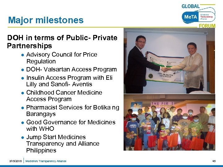 Major milestones DOH in terms of Public- Private Partnerships Advisory Council for Price Regulation