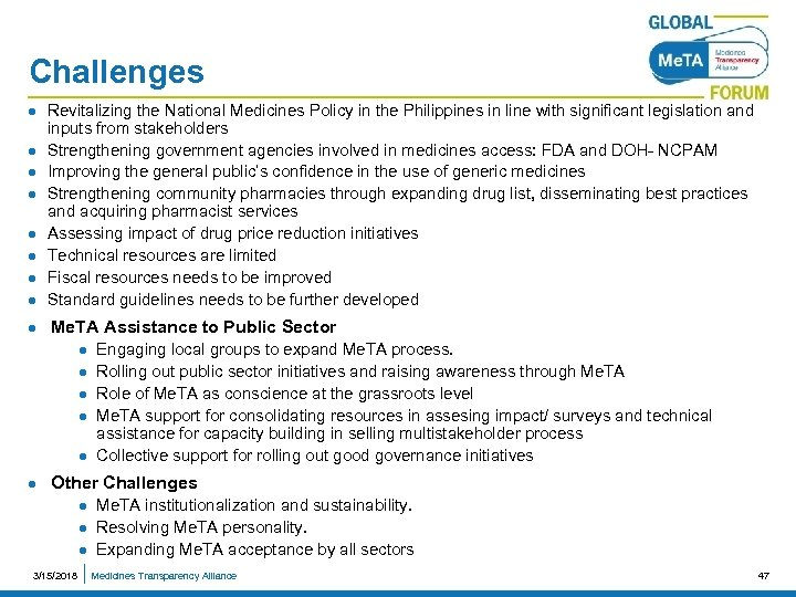 Challenges l Revitalizing the National Medicines Policy in the Philippines in line with significant
