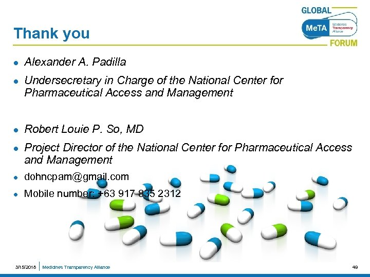 Thank you l l Alexander A. Padilla Undersecretary in Charge of the National Center
