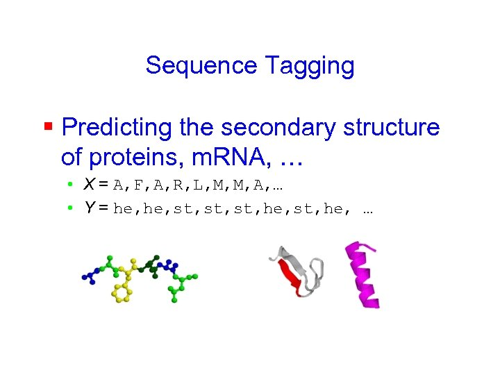 Sequence Tagging § Predicting the secondary structure of proteins, m. RNA, … • X