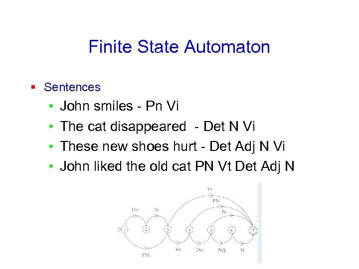 Finite State Automaton § Sentences • • John smiles - Pn Vi The cat