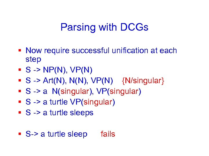 Parsing with DCGs § Now require successful unification at each step § S ->
