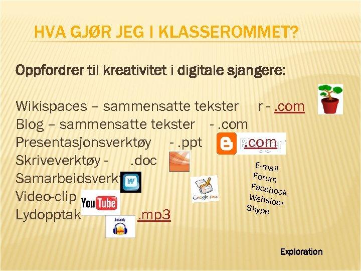 HVA GJØR JEG I KLASSEROMMET? Oppfordrer til kreativitet i digitale sjangere: Wikispaces – sammensatte