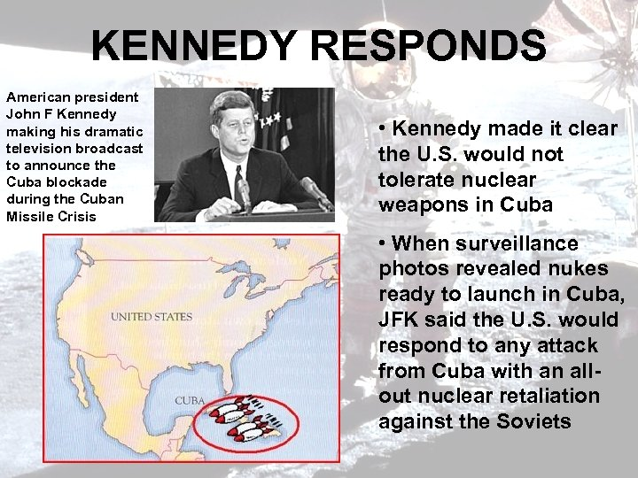 KENNEDY RESPONDS American president John F Kennedy making his dramatic television broadcast to announce