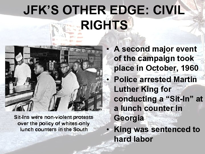 JFK'S OTHER EDGE: CIVIL RIGHTS Sit-Ins were non-violent protests over the policy of whites-only