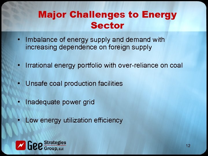 Major Challenges to Energy Sector • Imbalance of energy supply and demand with increasing