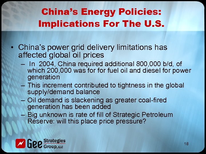China's Energy Policies: Implications For The U. S. • China's power grid delivery limitations