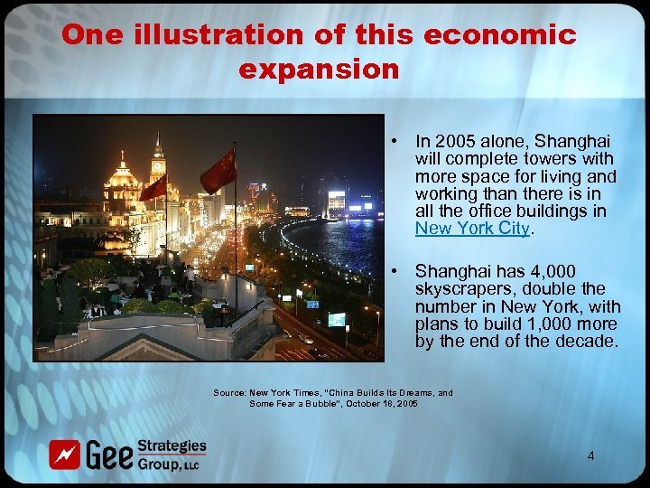 One illustration of this economic expansion • In 2005 alone, Shanghai will complete towers