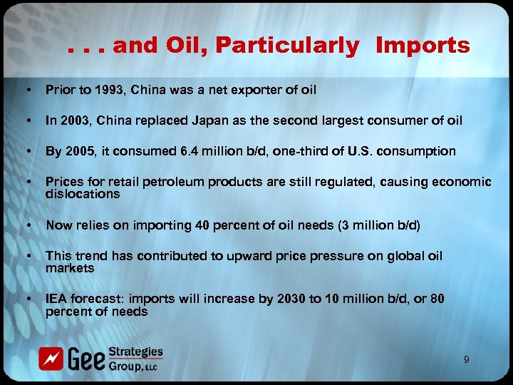. . . and Oil, Particularly Imports • Prior to 1993, China was a