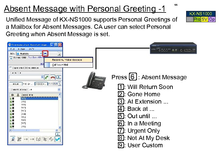 "Absent Message with Personal Greeting -1 "" Unified Message of KX-NS 1000 supports Personal"