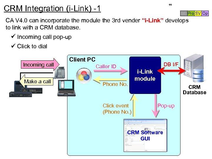 """"""" CRM Integration (i-Link) -1 BE Pro SV Op CA V 4. 0 can"""