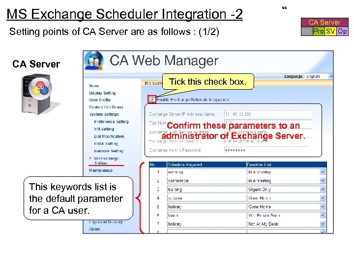 MS Exchange Scheduler Integration -2 Setting points of CA Server are as follows :