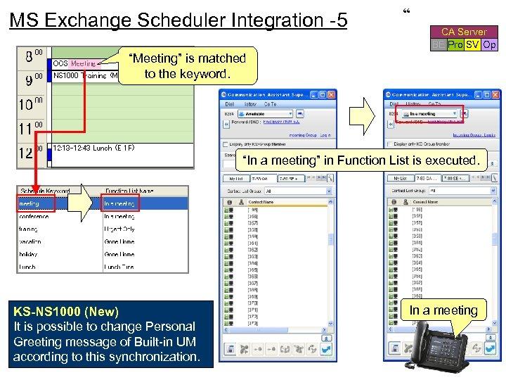 """"""" MS Exchange Scheduler Integration -5 CA Server BE Pro SV Op """"Meeting"""" is"""