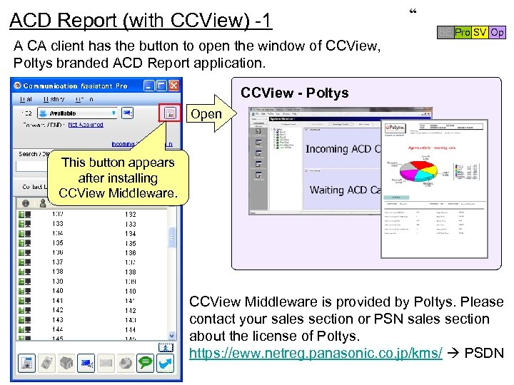 ACD Report (with CCView) -1 A CA client has the button to open the