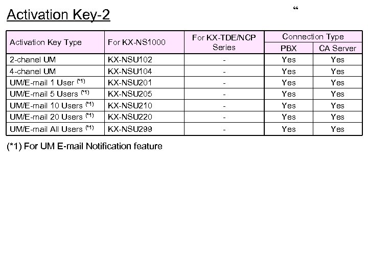 """ Activation Key-2 Activation Key Type For KX-NS 1000 2 -chanel UM 4 -chanel"