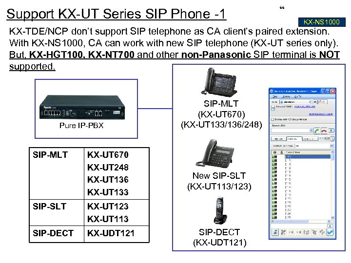 "Support KX-UT Series SIP Phone -1 "" KX-NS 1000 KX-TDE/NCP don't support SIP telephone"