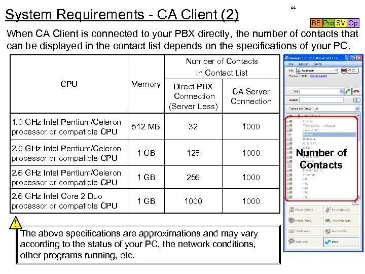 """ System Requirements - CA Client (2) BE Pro SV Op When CA Client"