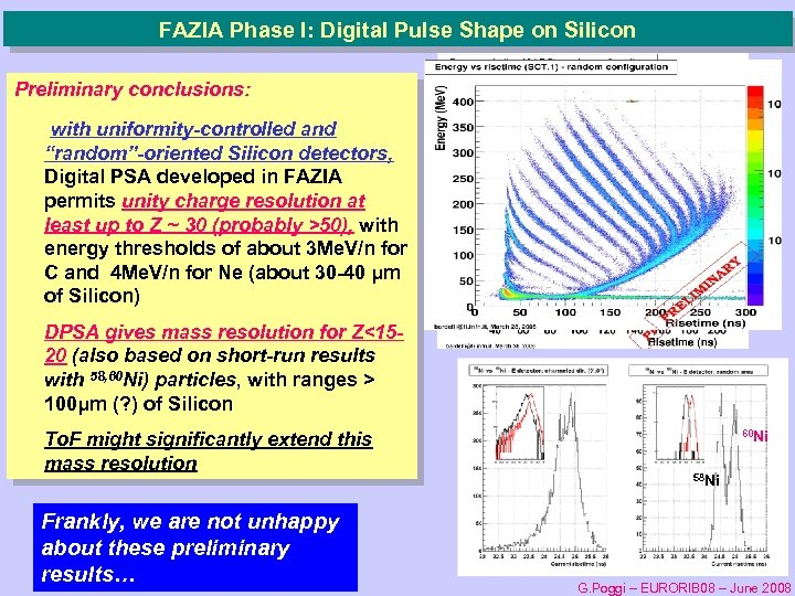 "FAZIA Phase I: Digital Pulse Shape on Silicon Preliminary conclusions: with uniformity-controlled and ""random""-oriented"