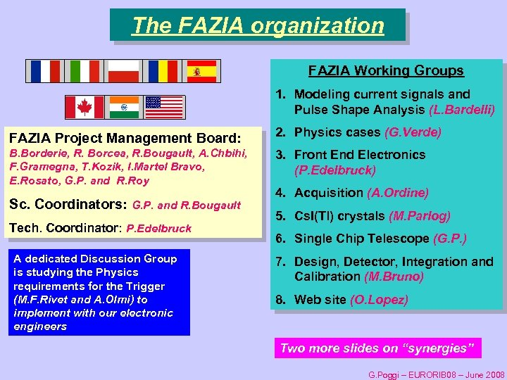 The FAZIA organization FAZIA Working Groups 1. Modeling current signals and Pulse Shape Analysis