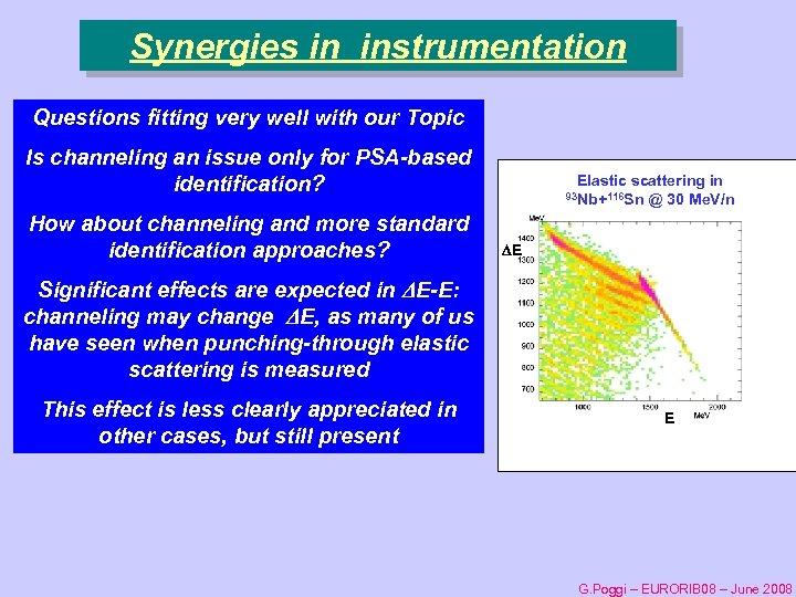 Synergies in instrumentation Questions fitting very well with our Topic Is channeling an issue