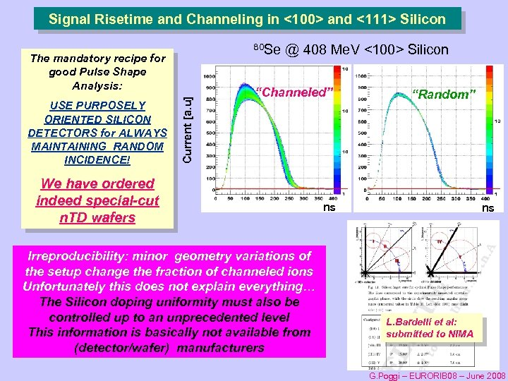 Signal Risetime and Channeling in <100> and <111> Silicon 80 Se USE PURPOSELY ORIENTED