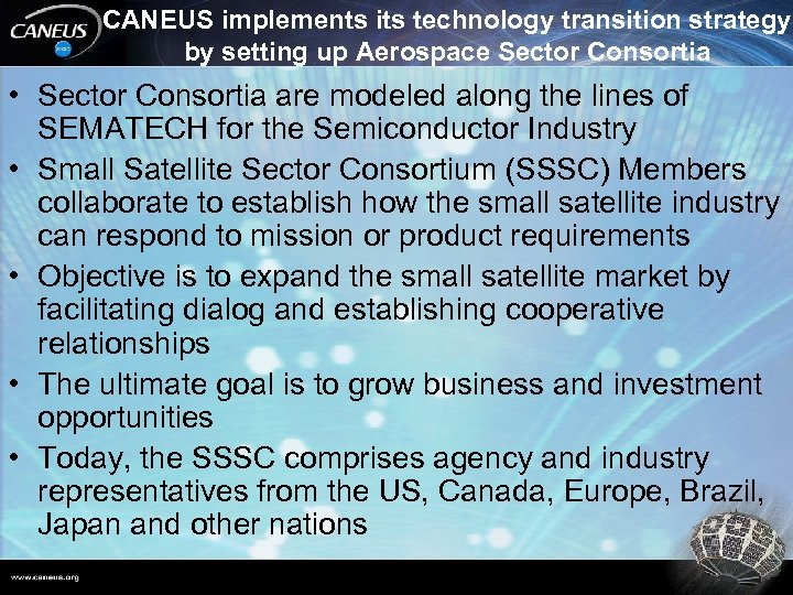 CANEUS implements its technology transition strategy by setting up Aerospace Sector Consortia • Sector
