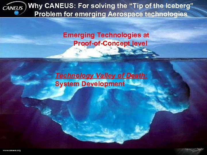 "Why CANEUS: For solving the ""Tip of the Iceberg"" Problem for emerging Aerospace technologies"