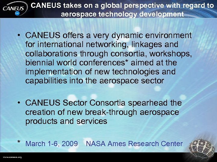 CANEUS takes on a global perspective with regard to aerospace technology development • CANEUS