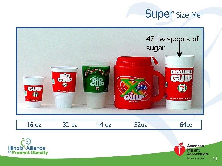 Super Size Me! 48 teaspoons of sugar 16 oz 32 oz 44 oz 52