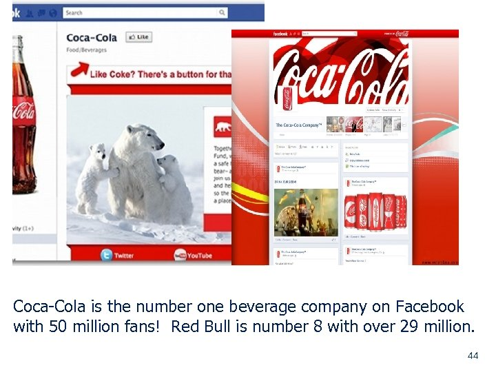 Coca-Cola is the number one beverage company on Facebook with 50 million fans! Red