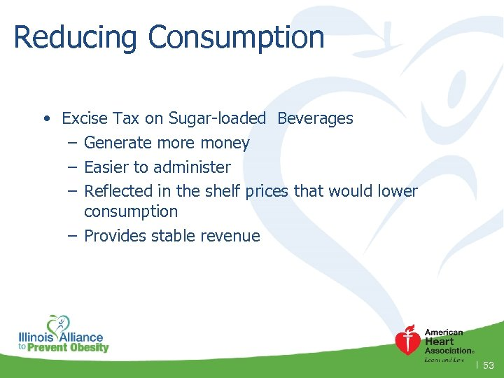 Reducing Consumption • Excise Tax on Sugar-loaded Beverages – Generate more money – Easier