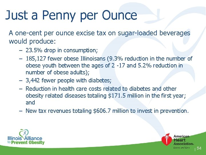 Just a Penny per Ounce A one-cent per ounce excise tax on sugar-loaded beverages