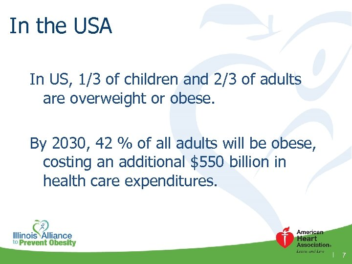 In the USA In US, 1/3 of children and 2/3 of adults are overweight