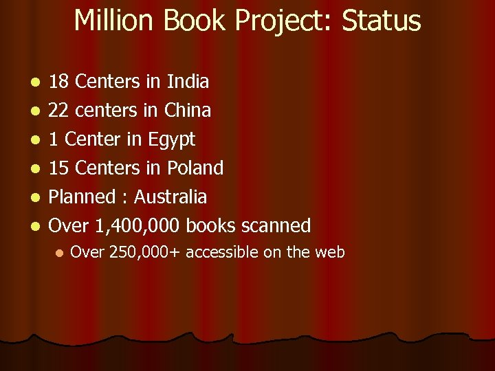 Million Book Project: Status 18 Centers in India l 22 centers in China l