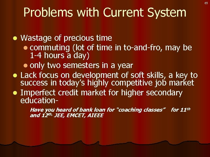 Problems with Current System Wastage of precious time l commuting (lot of time in