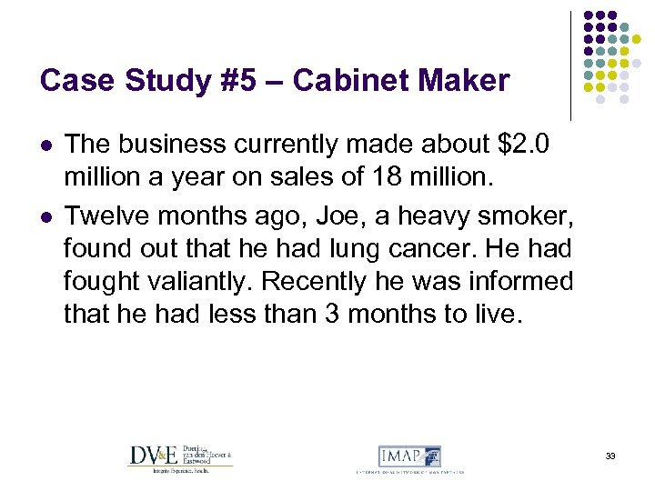 Case Study #5 – Cabinet Maker l l The business currently made about $2.