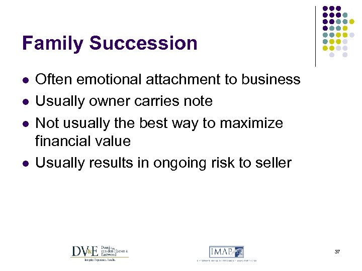 Family Succession l l Often emotional attachment to business Usually owner carries note Not